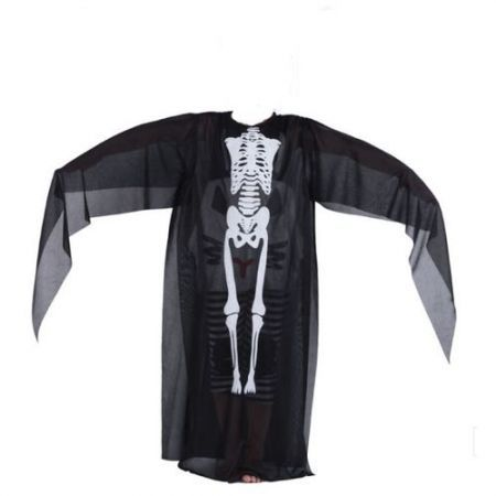 Halloween Masquerade Party Parade Ghost Skeleton Pirate Costume Black for Kid (Mask is not included)