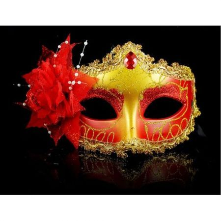 Halloween Masquerade Party Colorful Flower Venetian Costume Mask Red
