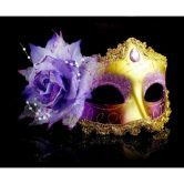 Halloween Masquerade Party Colorful Flower Venetian Costume Mask Purple