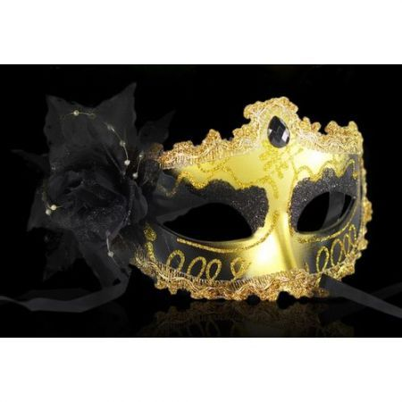 Halloween Masquerade Party Colorful Flower Venetian Costume Mask Black