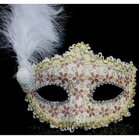Halloween Christmas Masquerade Party Pink Flower Feather Mask