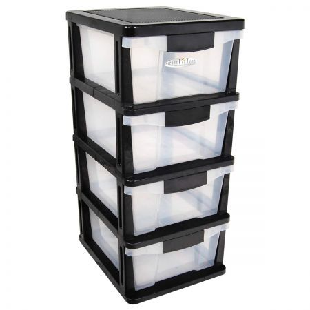 Merveilleux Plastic Storage Drawers Shelf   4 Levels With Slide Out Drawers U0026 Wheels