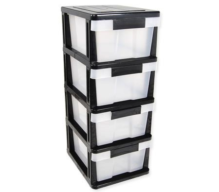 Plastic Storage Shelf - 4 Levels with Slide-Out Drawers