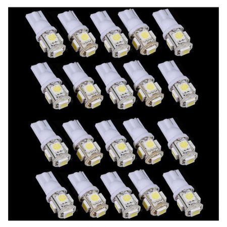 20pcs T10 5 SMD 5050 Pure White Wedge Signal 194 W5W 5 LED Car Light Bulb Lamp Car Light Source