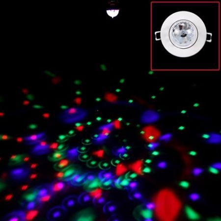 3W Full Color LED Voice-activated Rotating RGB Ceiling Stage Light DJ Disco Lamp