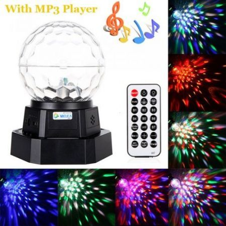 Rechargeable Auto Voice-activated Mini LED Crystal Magic Ball Light Stage Lighting with MP3 Player Party DJ 110V-240V