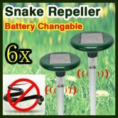 Free shipping! 6 x Solar Powered Snake Pest Repellent  Repeller with LED Light & Changeable Battery