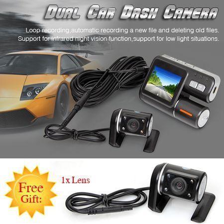 in car dual lens front rear hd dvr dashboard camera video recorder dash crazy sales. Black Bedroom Furniture Sets. Home Design Ideas