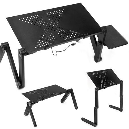Portable Laptop Stand Desk Table Tray With Cooling Fan