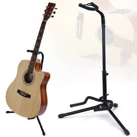 Folding Electric Acoustic Bass Tripod Guitar Stand GIG Floor Rack Holder - Black