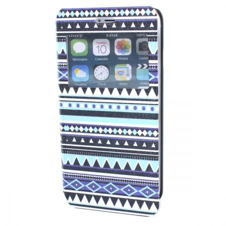 Color Bar PU Leather with Plastic & Display Window  for iPhone 6 - Blue