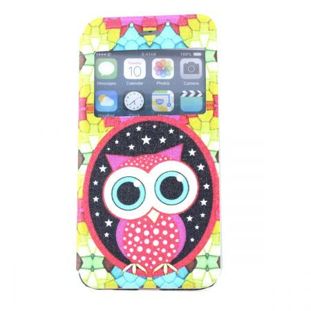 Color Owl PU Leather with Plastic & Display Window for iPhone 6