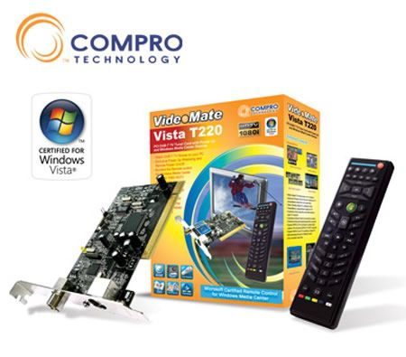 Compro VideoMate Vista T220 PCI DVB T TV Tuner Card With Power Up And Windows Media Center Remote