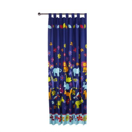Glow In The Dark Animal Silhouette Tab Top Curtains