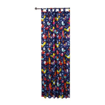 Glow in the Dark Bright Birds Tab Top Curtains
