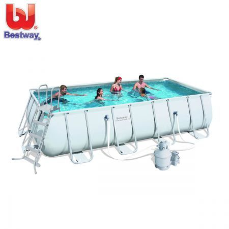 Bestway Above Ground Rectangular Swimming Pool 18ft W Steel Pro Frame Sand Filter Pump Crazy