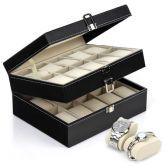 Free shipping! Watch Jewellery Display Storage Holder Case 20 Grids Box Organizer Gift