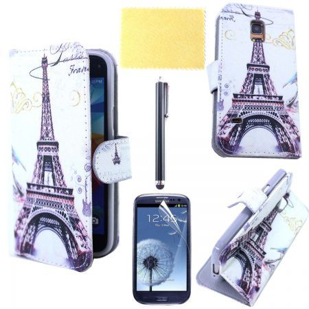 Eiffel Tower Pattern Flip-open PU Leather Case w/ Stand / Card Slots for Samsung Galaxy S5 Mini (Film + Pen )