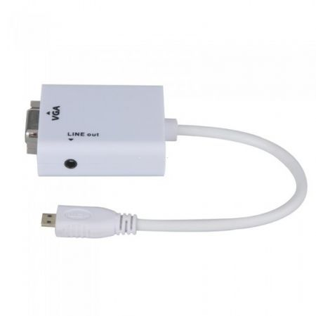 1080P Micro HDMI Male to VGA Female Cable Video Converter Adapter HD Conversion Cable with Audio Output
