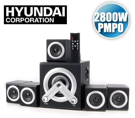 Hyundai HY-Z-5100 Z Series 2800W (PMPO) 5.1 Surround Sound Speaker System - 5.25 inch Subwoofer & 2.5 inch Satellite Speakers with Remote Control