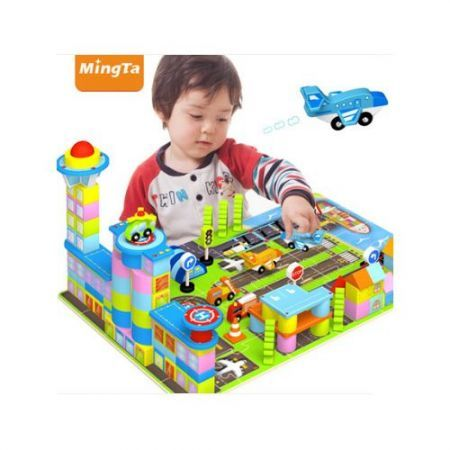 Educational Stacking Wooden Building Blocks Puzzles Play Toy 208pcs Airport