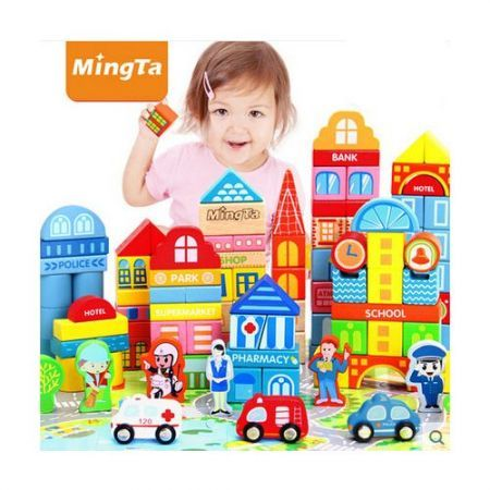 Educational Stacking Wooden Building Blocks Puzzles Play Toy 168pcs City Scene