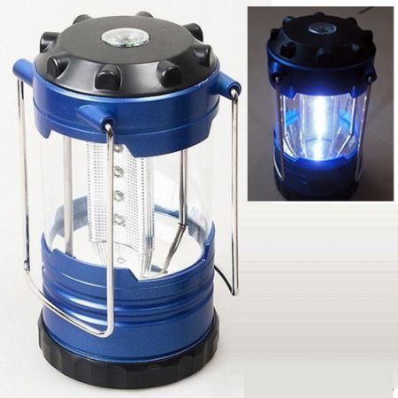 Camping Lantern Bivouac Hiking Camp Light 12 LED Lamp Portable with Compass