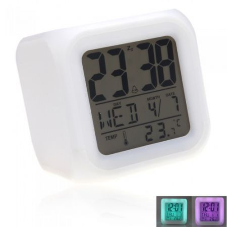 Glowing LED 7 Color Change Digital Alarm Clock Thermometer ...