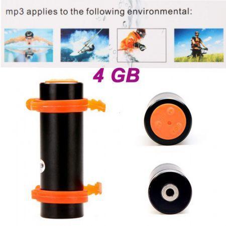 Swimming Diving Waterproof MP3 Player w/ FM Radio + Earphone - Black (4GB)