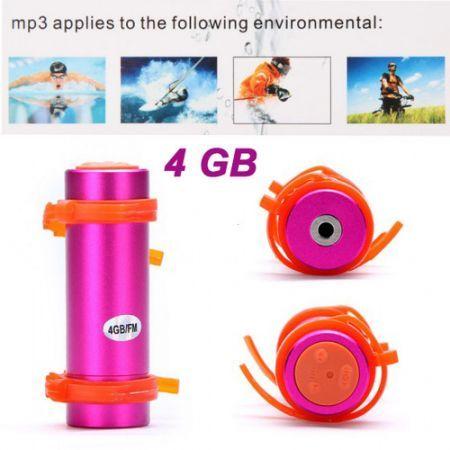 Swimming Diving Waterproof MP3 Player w/ FM Radio + Earphone - Deep Pink (4GB)
