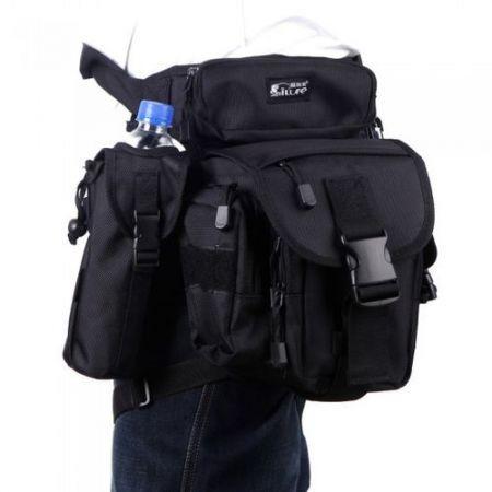 Multi-Purpose Fishing Tackle Bag Lure Leg Waist Pack Pole Package Messenger Bag Black
