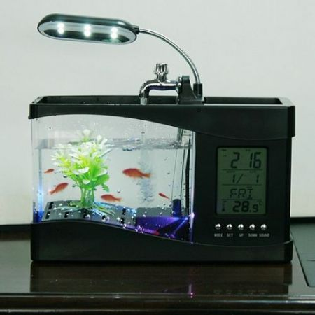 Mini USB LCD Desktop Lamp Right Fish Tank Aquarium LED Clock Black
