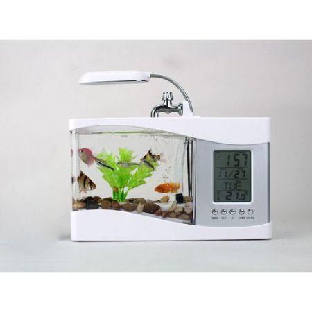 Mini USB LCD Desktop Lamp Right Fish Tank Aquarium LED Clock White