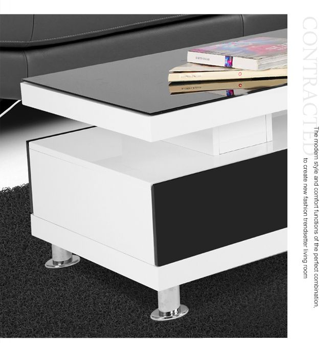 High Gloss White Coffee Table Round Angle Black Glass Top: High Gloss Coffee Table