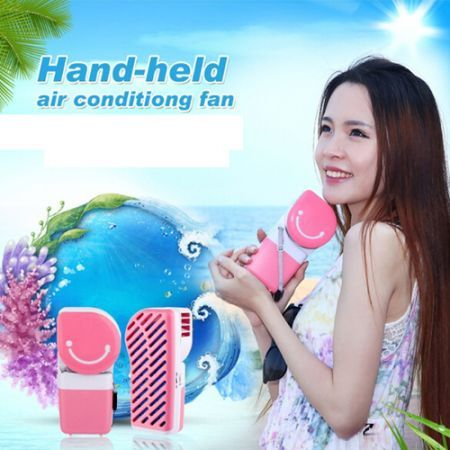 LUD USB Mini Portable Hand Held Air Conditioner Cooler Fan - Pink