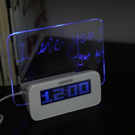Led Digital Fluorescent Message Board Clock Alarm