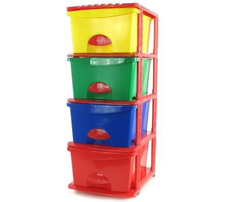 Plastic Storage Drawers Shelf - 4 Levels with Slide-Out Drawers & Wheels for Boys