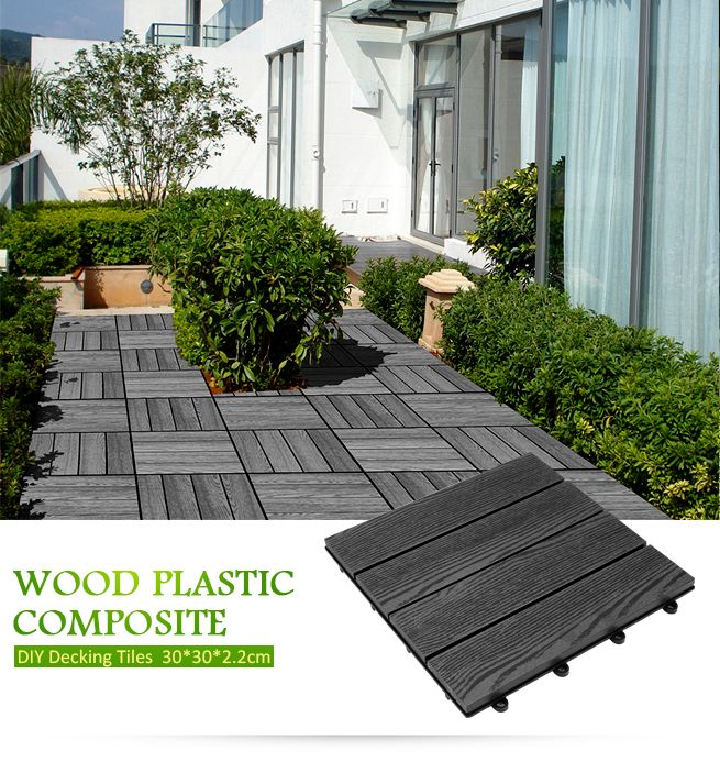 6 Piece DIY Composite Decking Tiles 30cm x30cm x 22cm