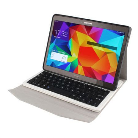 Removable Bluetooth Keyboard PU Leather Case for Samsung Galaxy Tab 10.5 T800 - White