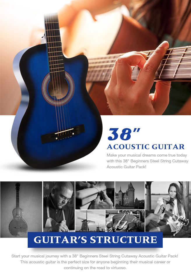 38 beginners steel string cutaway acoustic guitar pack blue crazy sales. Black Bedroom Furniture Sets. Home Design Ideas
