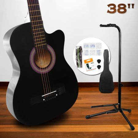 "38"" Beginners Cutaway Acoustic Guitar Pack & Stand (Black)"