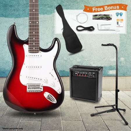 39 electric guitar pack with amplifier stand red crazy sales. Black Bedroom Furniture Sets. Home Design Ideas