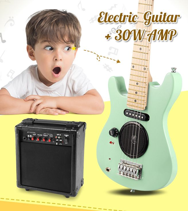 30 kids electric guitar with built in speaker pack amp apple green crazy sales. Black Bedroom Furniture Sets. Home Design Ideas