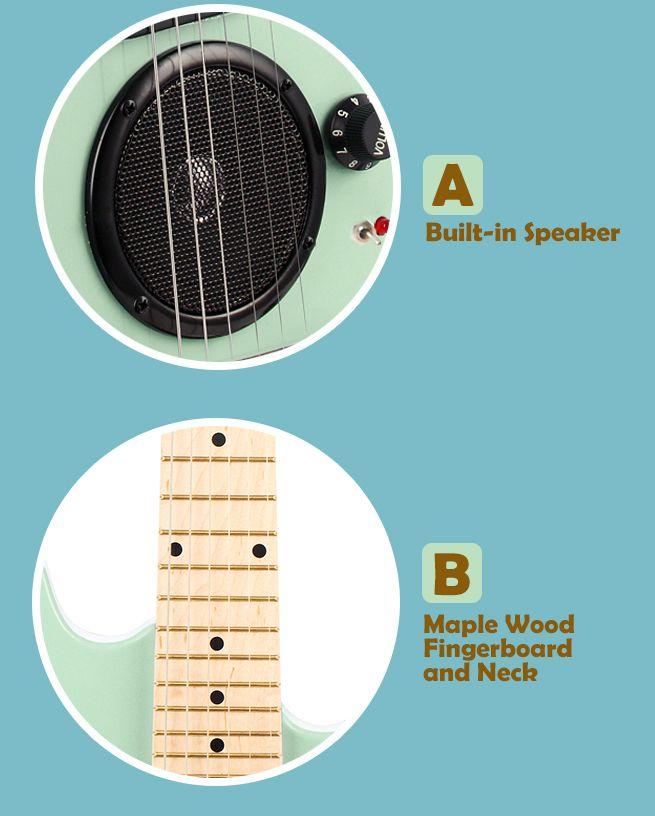 30 kids electric guitar with built in speaker pack amp apple green crazy sales. Black Bedroom Furniture Sets. Home Design Ideas