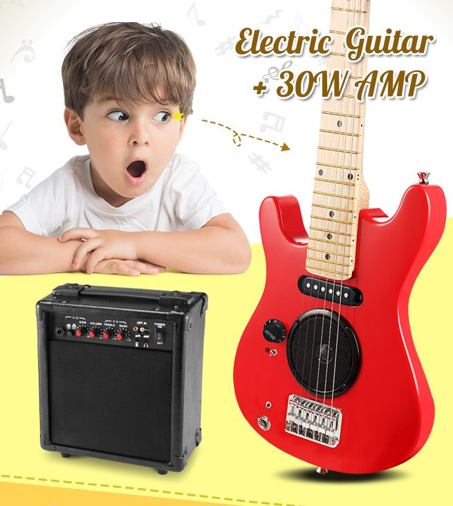 30 kids electric guitar with built in speaker pack amp red crazy sales. Black Bedroom Furniture Sets. Home Design Ideas