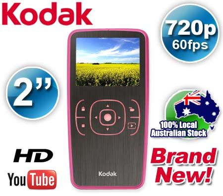 KODAK Zx1 HD Pocket Digital Video Camera 3MP 2x Digital Zoom in Pink Rose - Compatible with YouTube