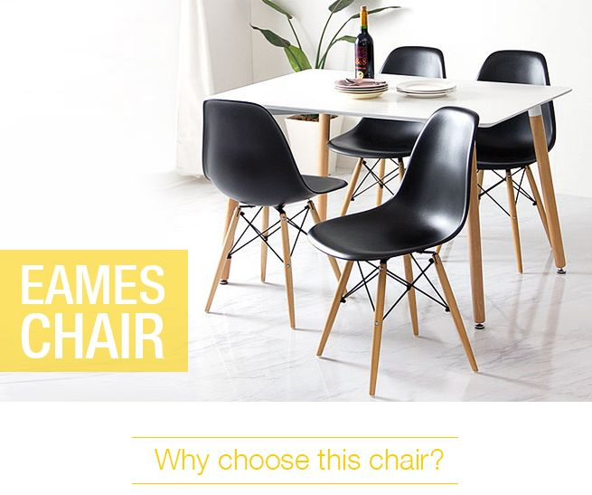 set of 4 modern black eames style chairs crazy sales. Black Bedroom Furniture Sets. Home Design Ideas