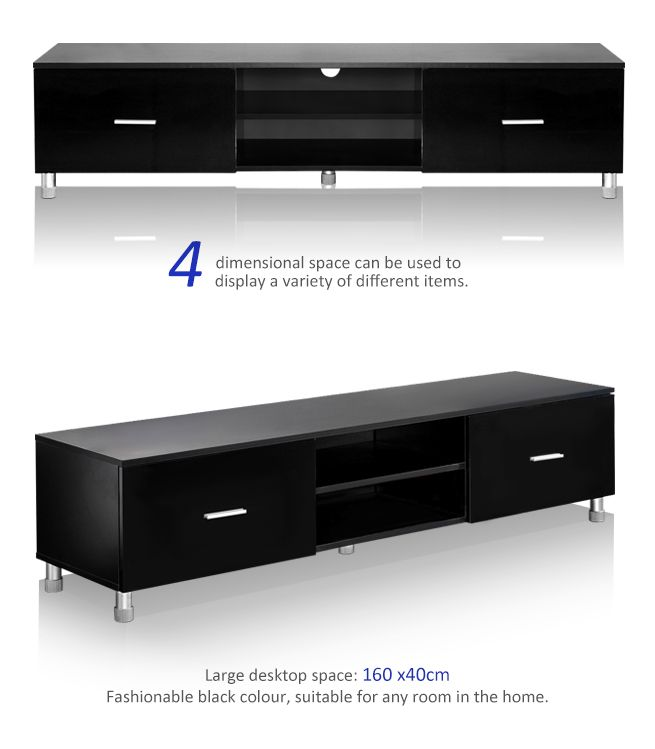 modern high gloss lacquer tv cabinet unit stand lowboard entertainment black ebay. Black Bedroom Furniture Sets. Home Design Ideas