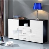 Black and White 2 Door 3 Drawer Cabinet