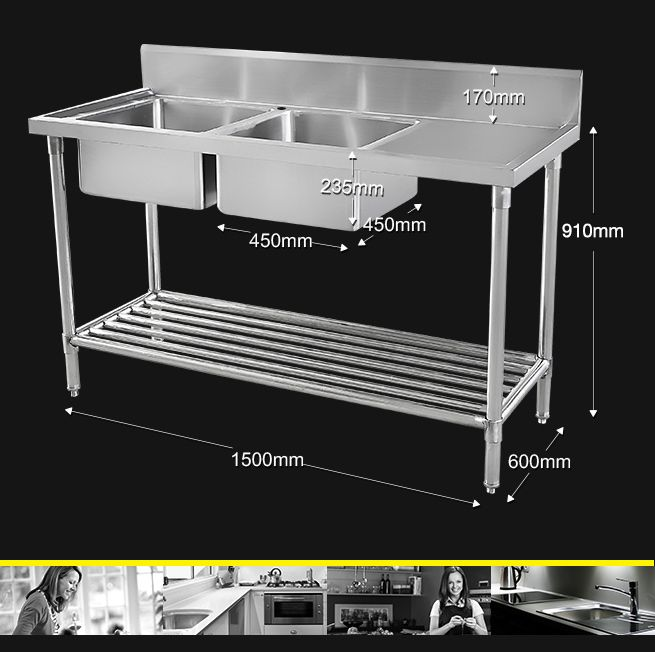 Double Left Side Bowl Stainless Steel Bench Sink Crazy Sales